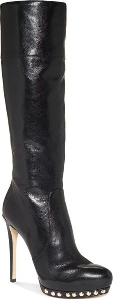 Michael Kors Ailee Tall High Heel Dress Boots in Black (Black Leather)