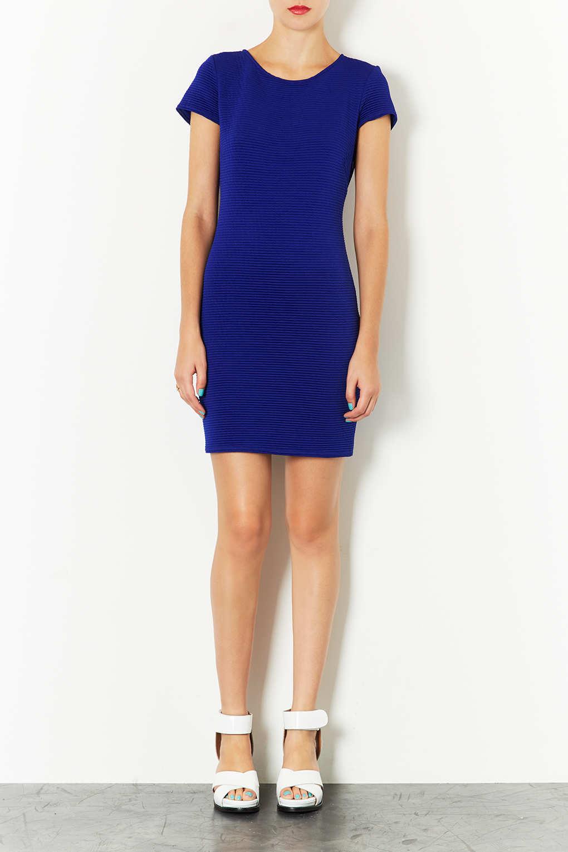 2b0f065e50694 Lyst - TOPSHOP Twisted Rib Cut Out Back Dress in Blue
