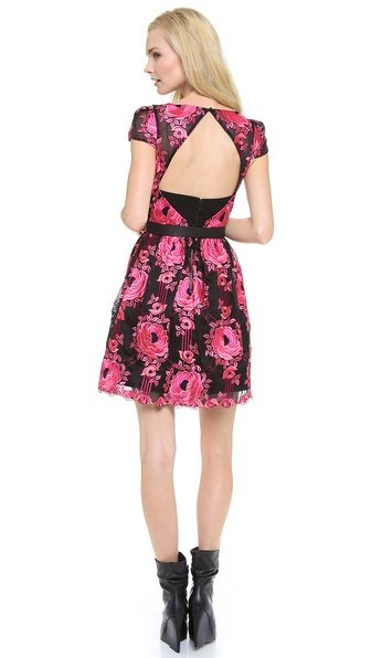 Alice Olivia Alice Olivia Chantil Embroidered Dress In