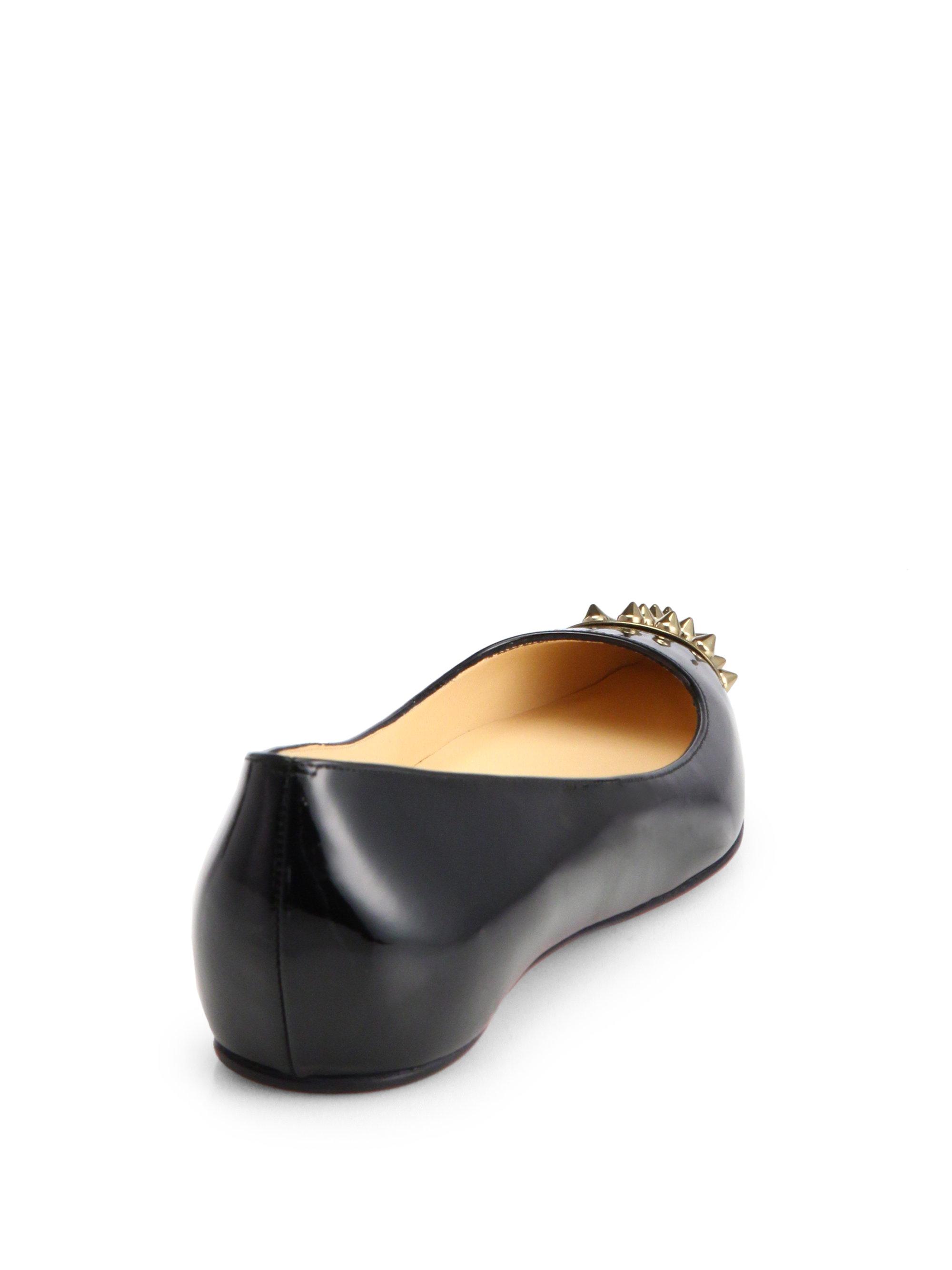 christian louboutin flats Metallic gold patent leather black cap ...