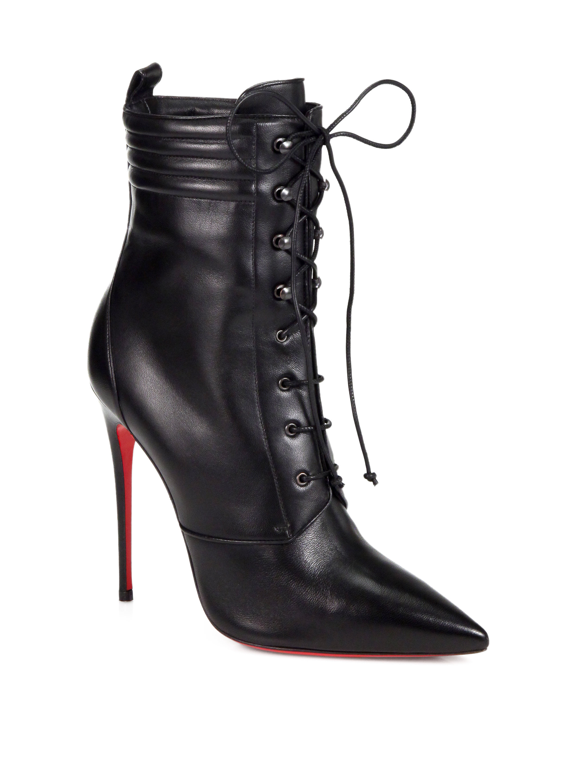 Christian louboutin Mado Leather Lace up Ankle Boots in Black | Lyst