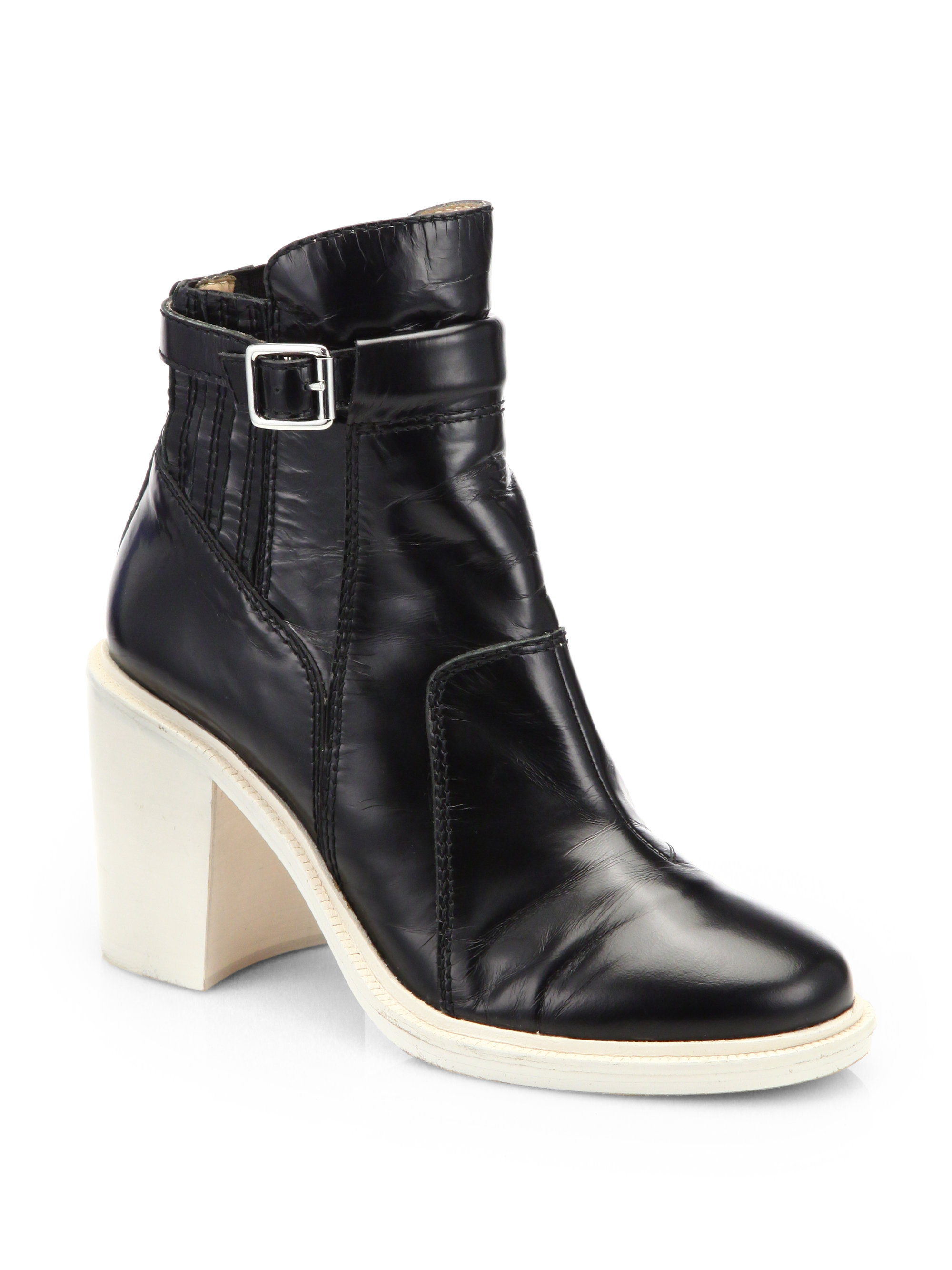 elizabeth and tempt patent leather ankle boots in