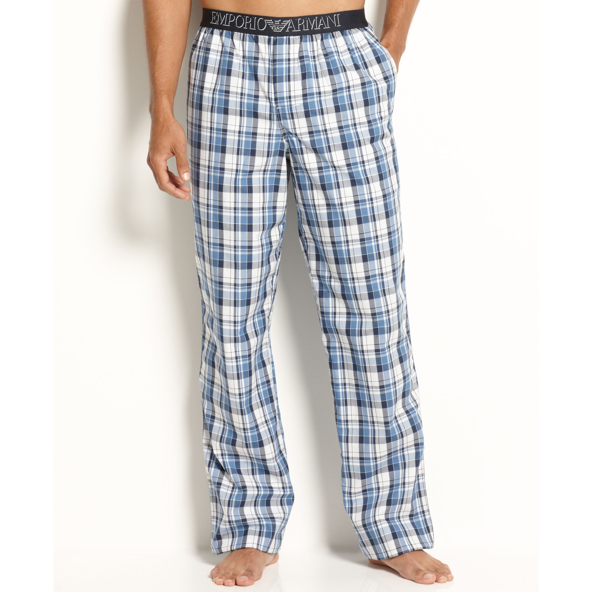 b17534ce70 Lyst - Emporio Armani Woven Pajama Pants in White for Men