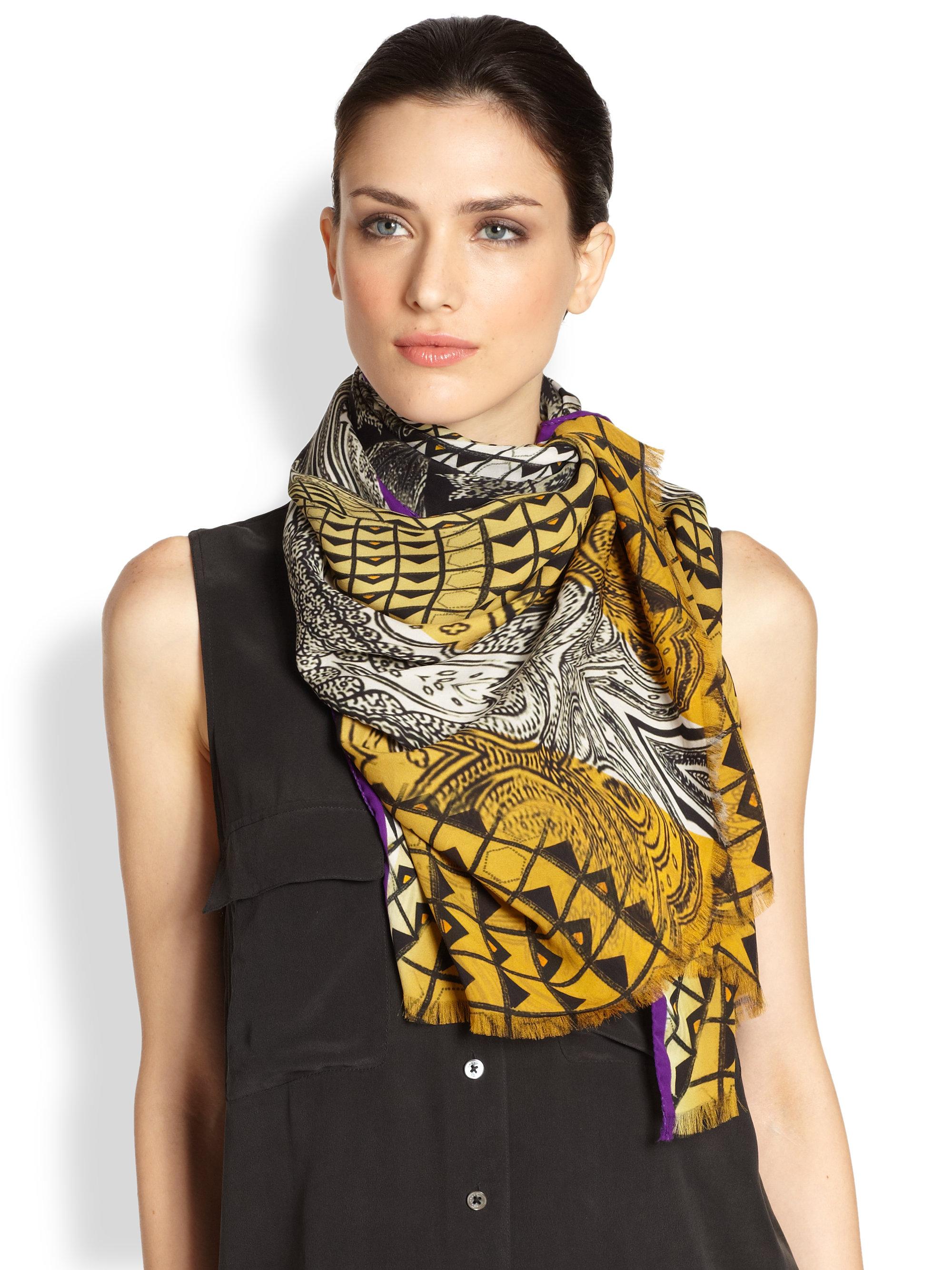 etro geo paisley silk georgette scarf in multicolor gold