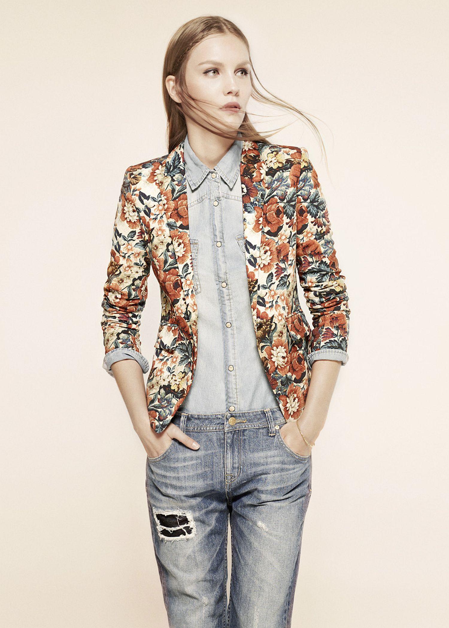 Lyst Mango Floral Print Blazer In Blue