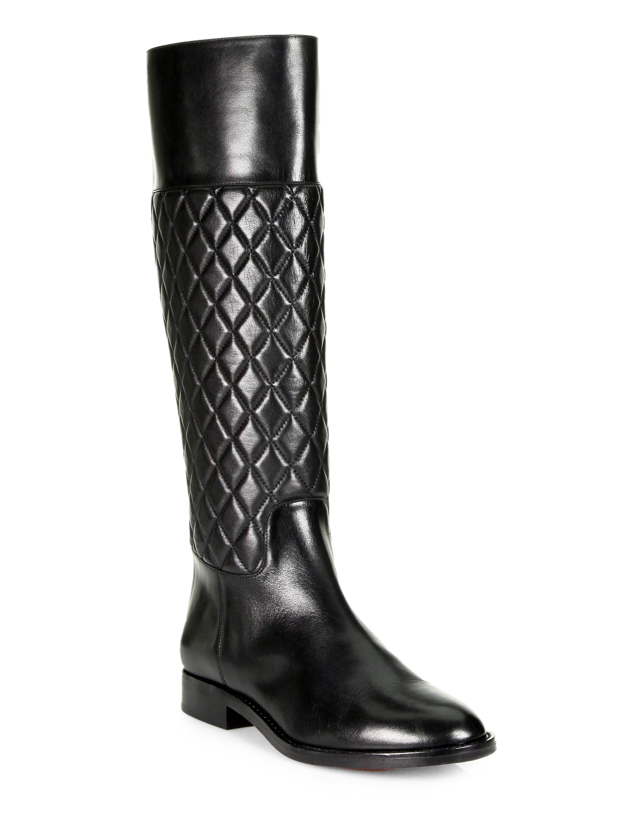 410dc9990 Michael Kors Mina Quilted Leather Riding Boots in Black - Lyst