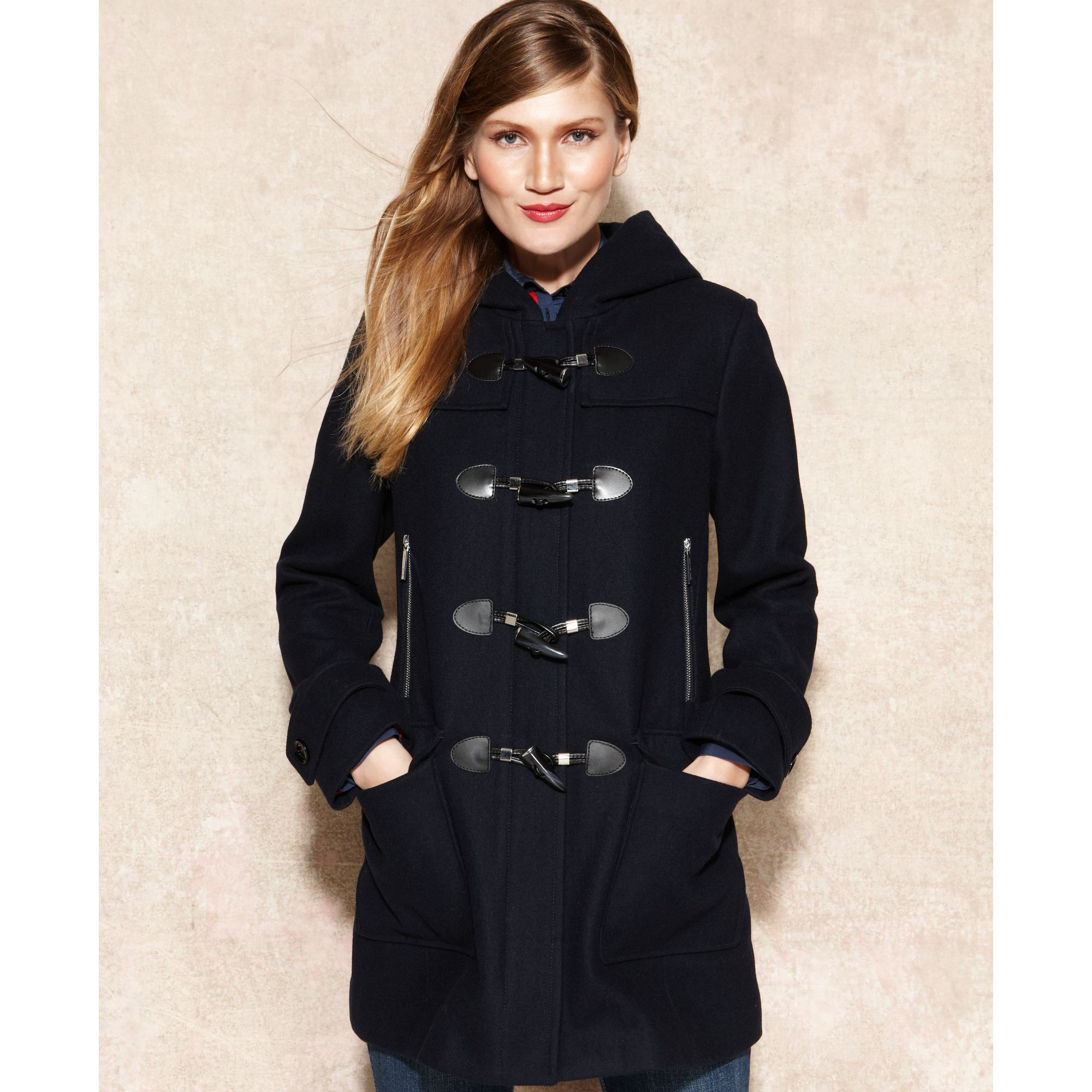 Michael kors Hooded Toggle Front Duffle Coat in Blue | Lyst