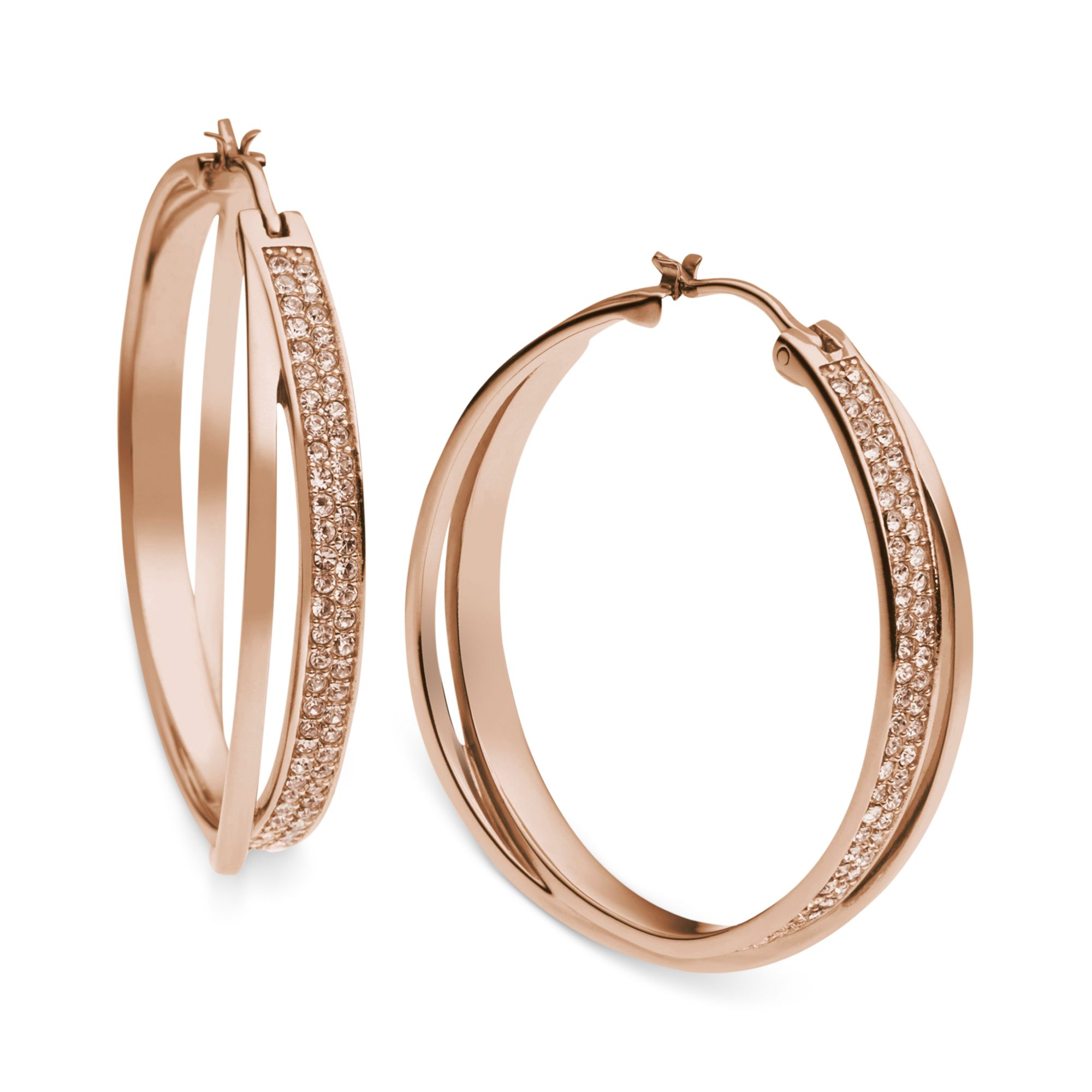 d5d76af212da28 Michael Kors Rose Gold-tone Quartz Pave Interlocking Hoop Earrings ...