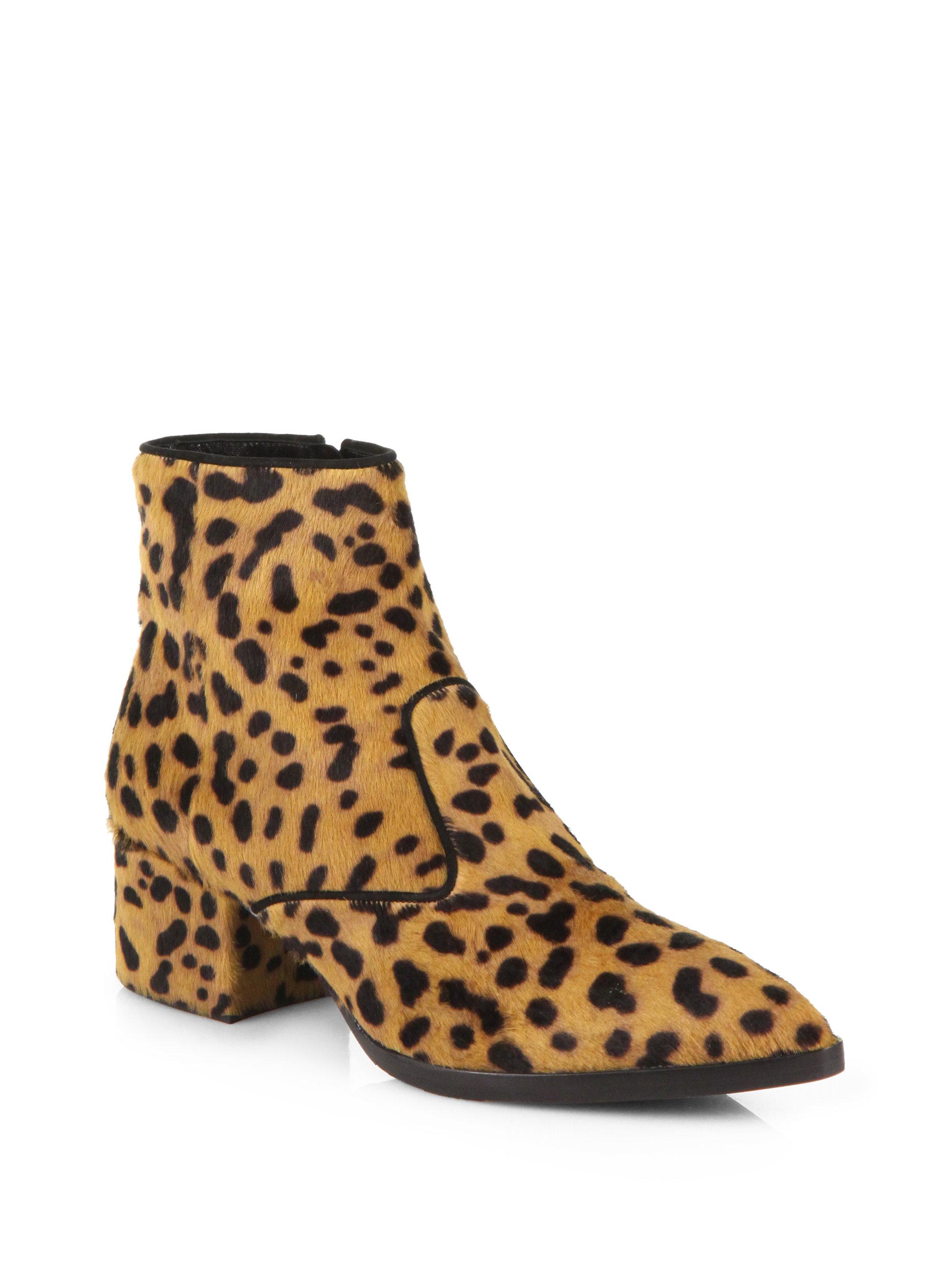 Lyst Miu Miu Animal Print Calf Hair Chelsea Boots In Brown