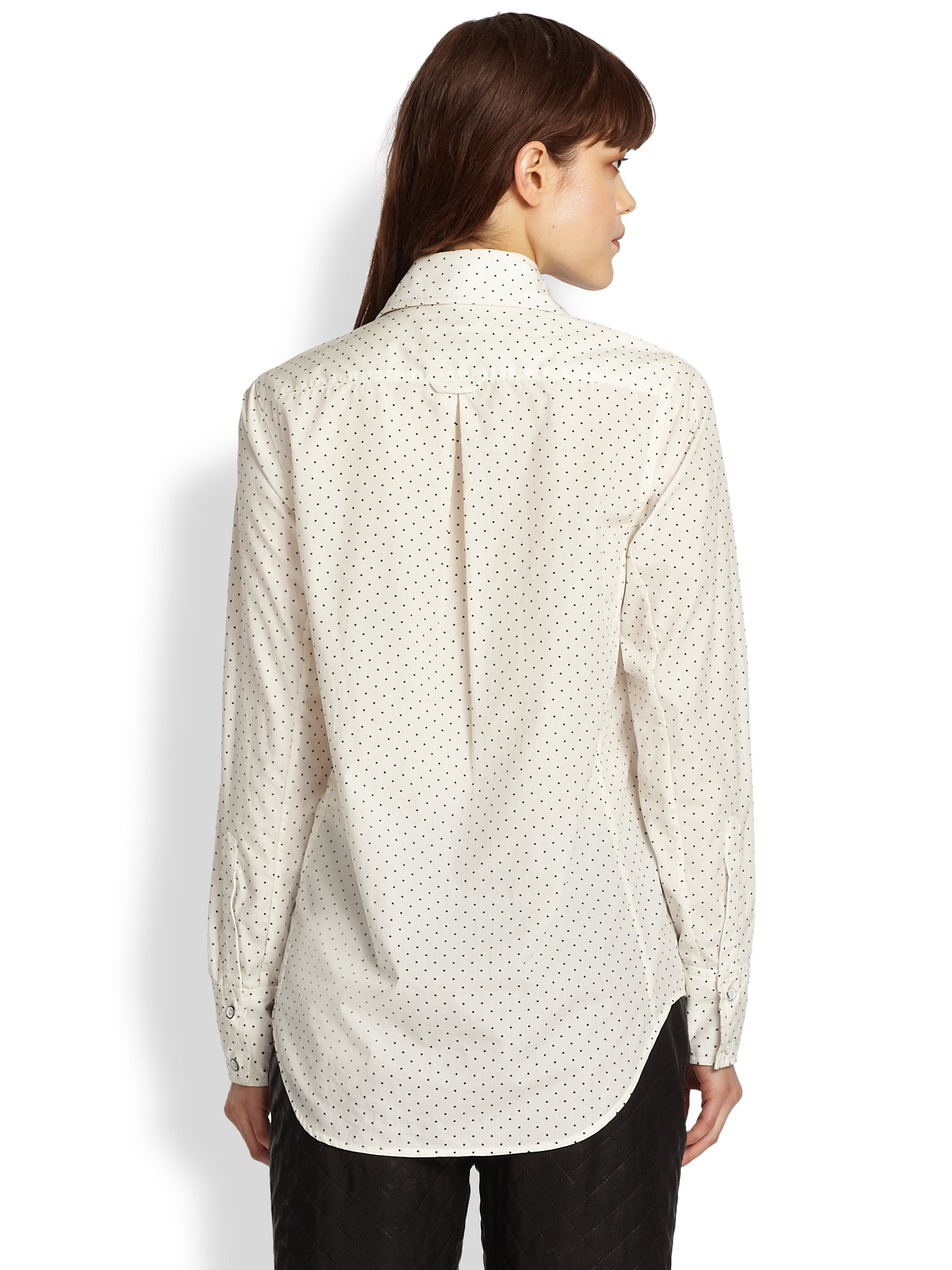 203241c9 Lyst - Rag & Bone Anaheim Polka Dot Cotton Shirt in White