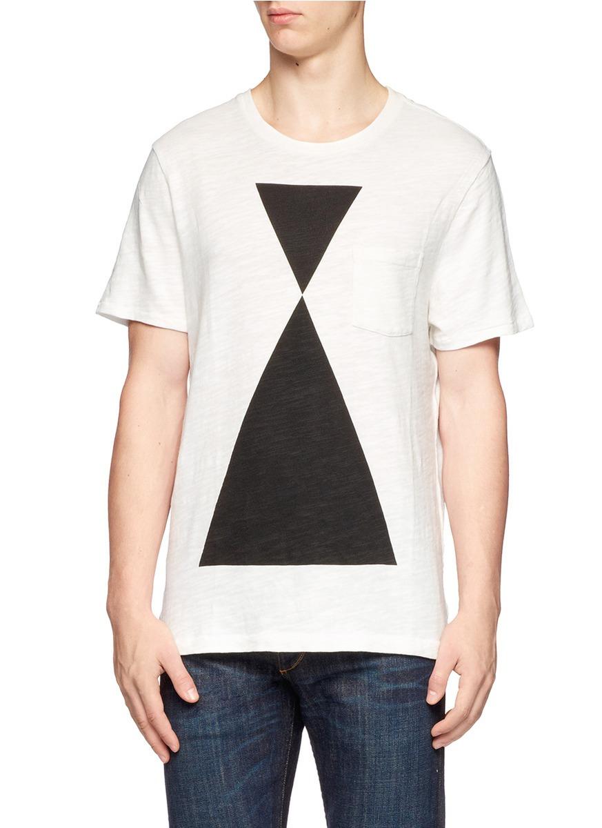 Lyst Rag Bone Hour Glass Print Cotton T Shirt In White For Men