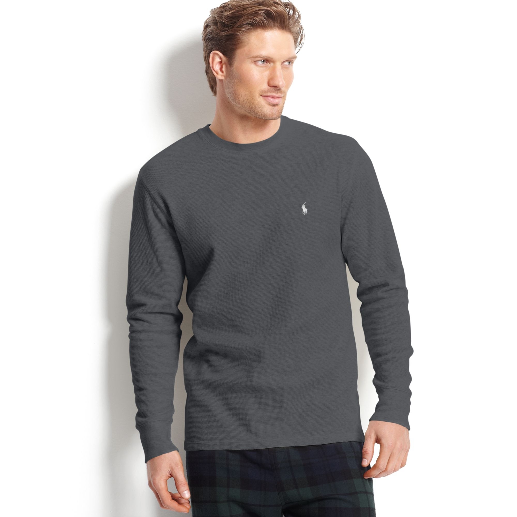78699671 Ralph Lauren Long Sleeve Crew Neck Waffleknit Thermal Tshirt in Gray ...