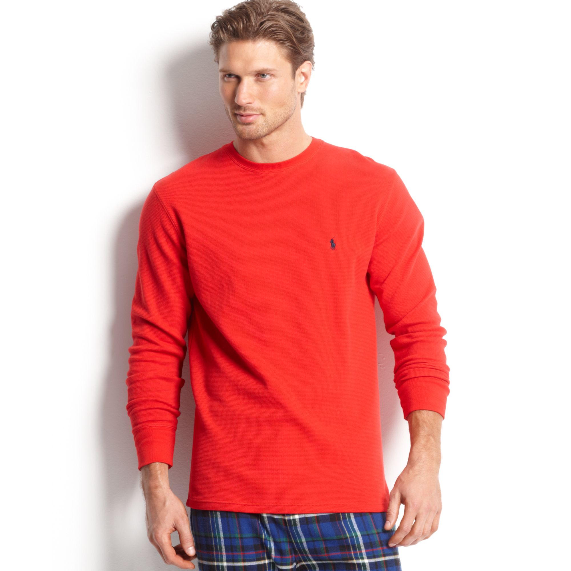 For Red Lauren Thermal T Waffleknit Shirt Crew Men Neck Ralph Long Sleeve iuOPkXZ