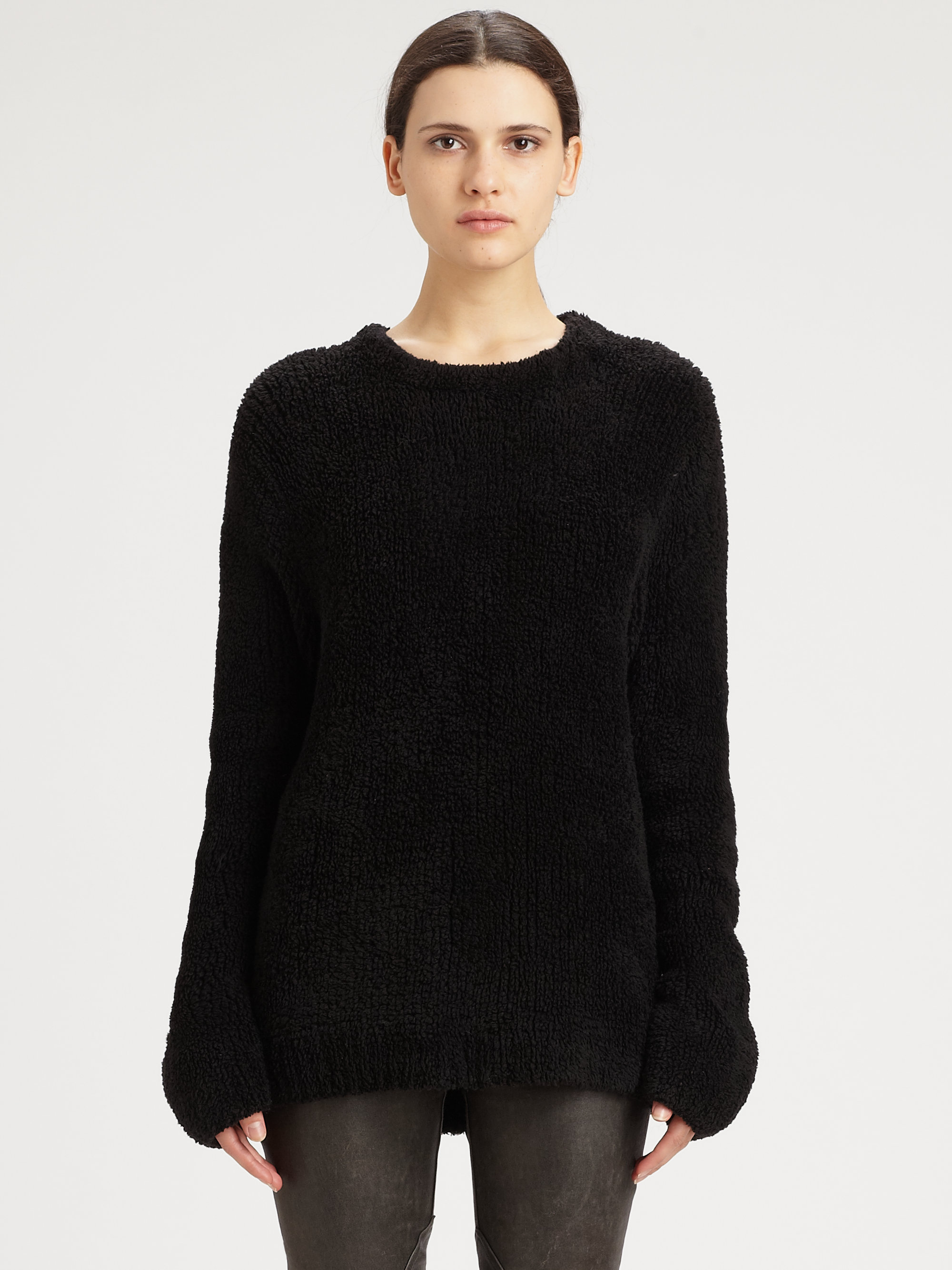 t by alexander wang oversized chenille sweater in black lyst. Black Bedroom Furniture Sets. Home Design Ideas