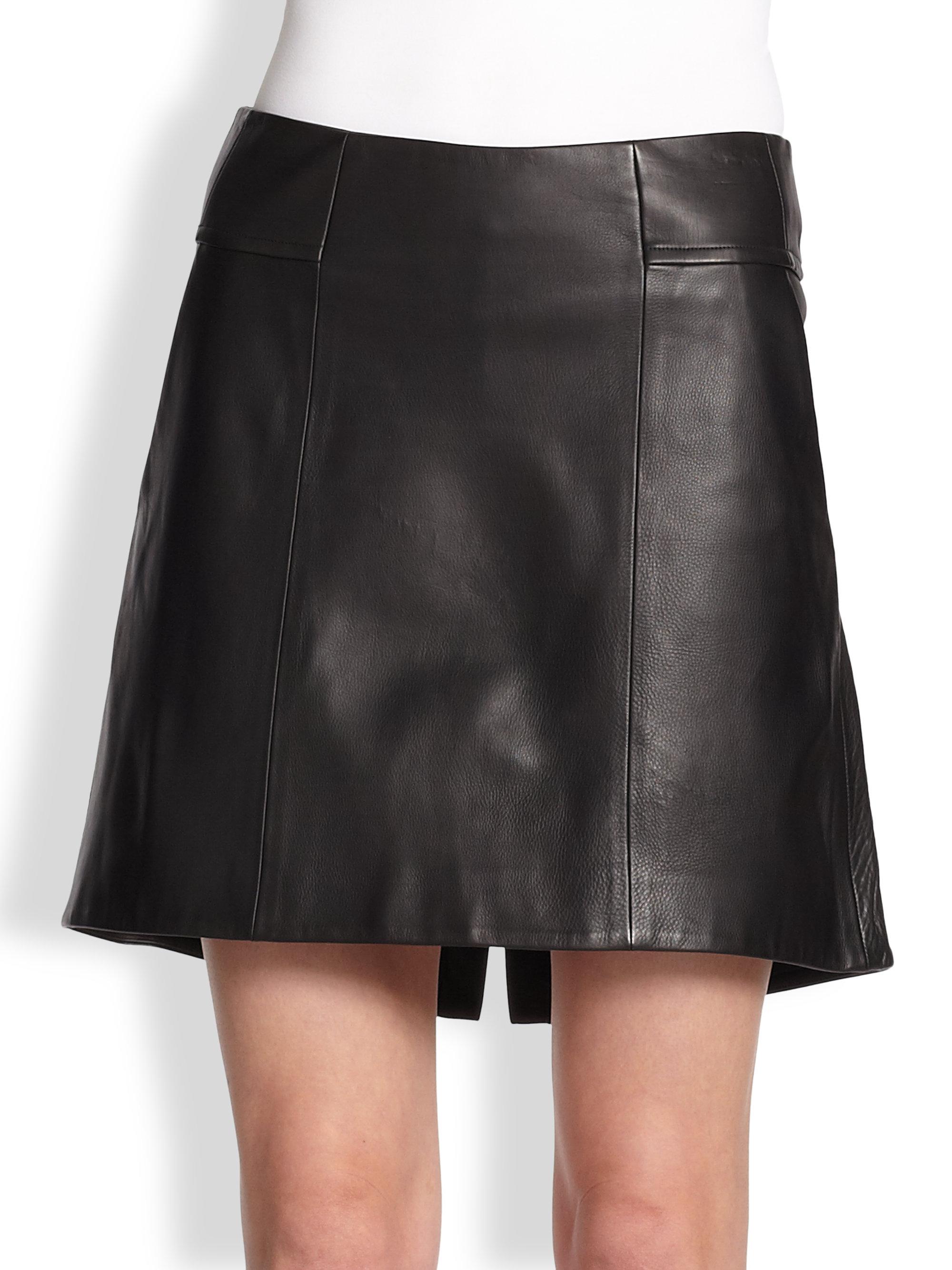 theyskens theory swick neasy leather skirt in black lyst