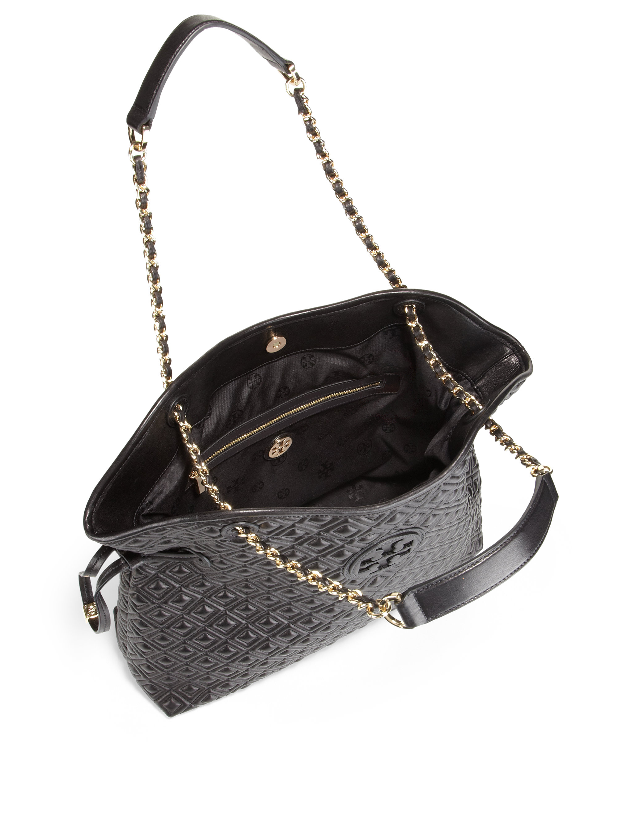 Tory burch Marion Quilted Slouchy Shoulder Bag in Black | Lyst : marion quilted tory burch - Adamdwight.com
