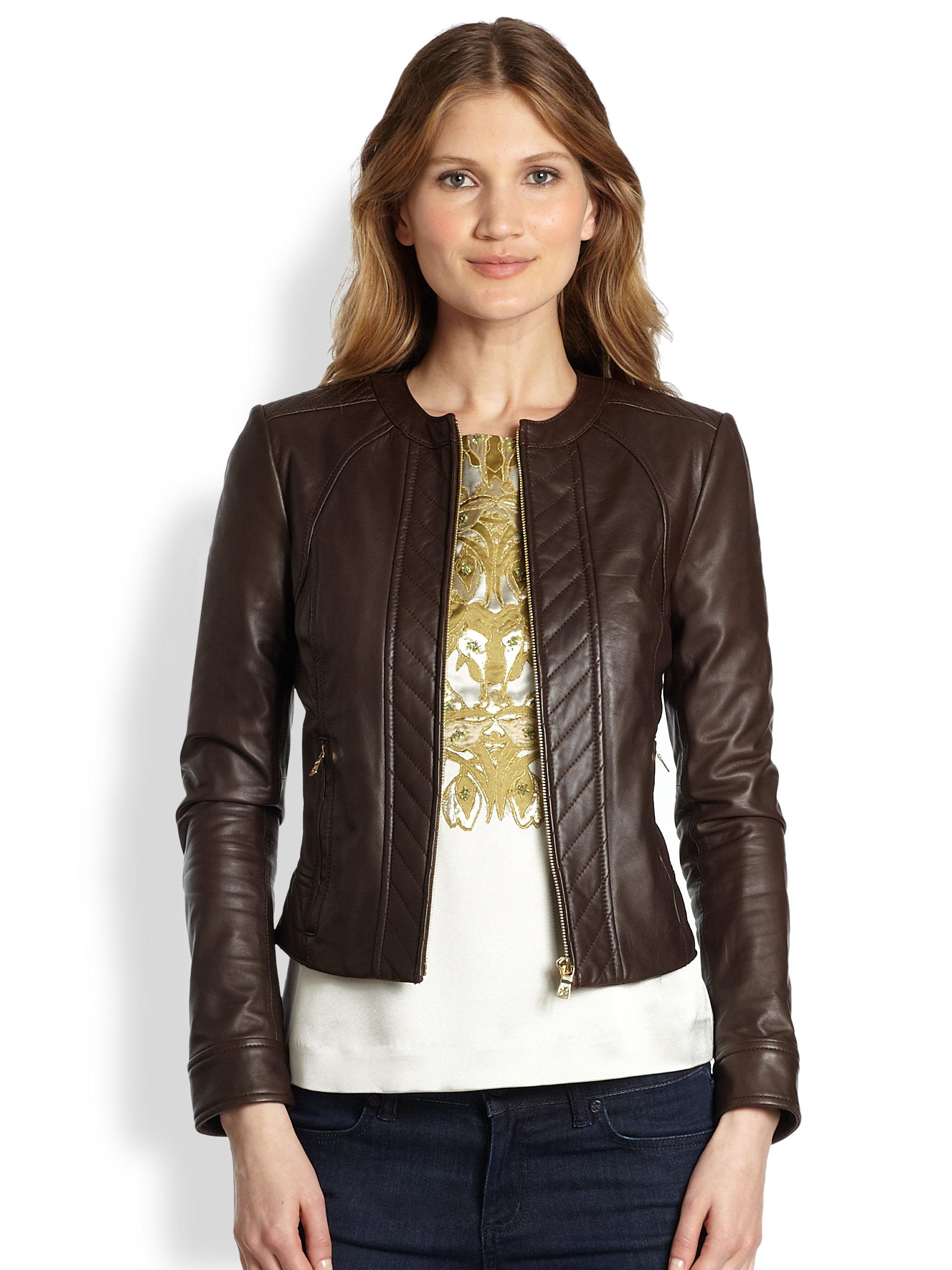 Tory Burch Daphne Lambskin Leather Jacket In Brown Lyst