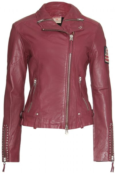 true religion moto leather jacket in purple red lyst. Black Bedroom Furniture Sets. Home Design Ideas
