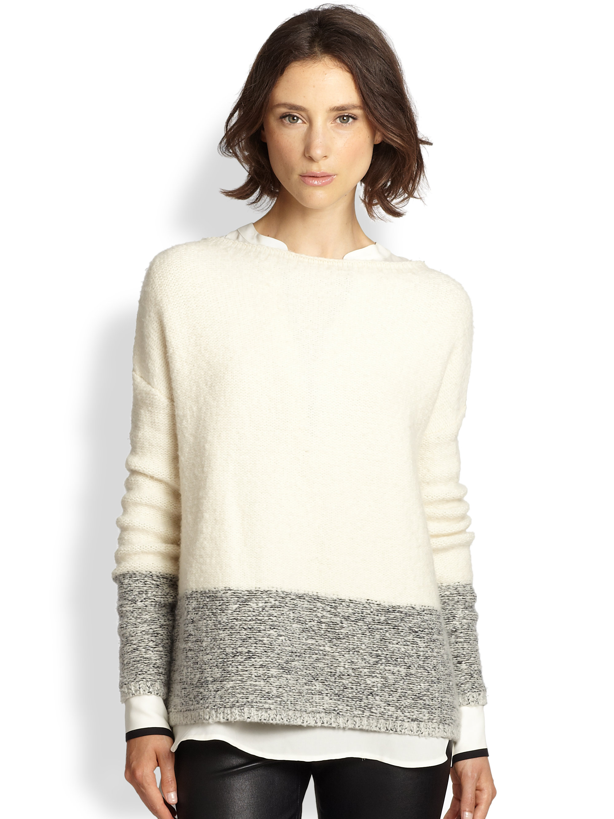 Vince Wool Silk Cashmere Colorblock Sweater in Natural | Lyst