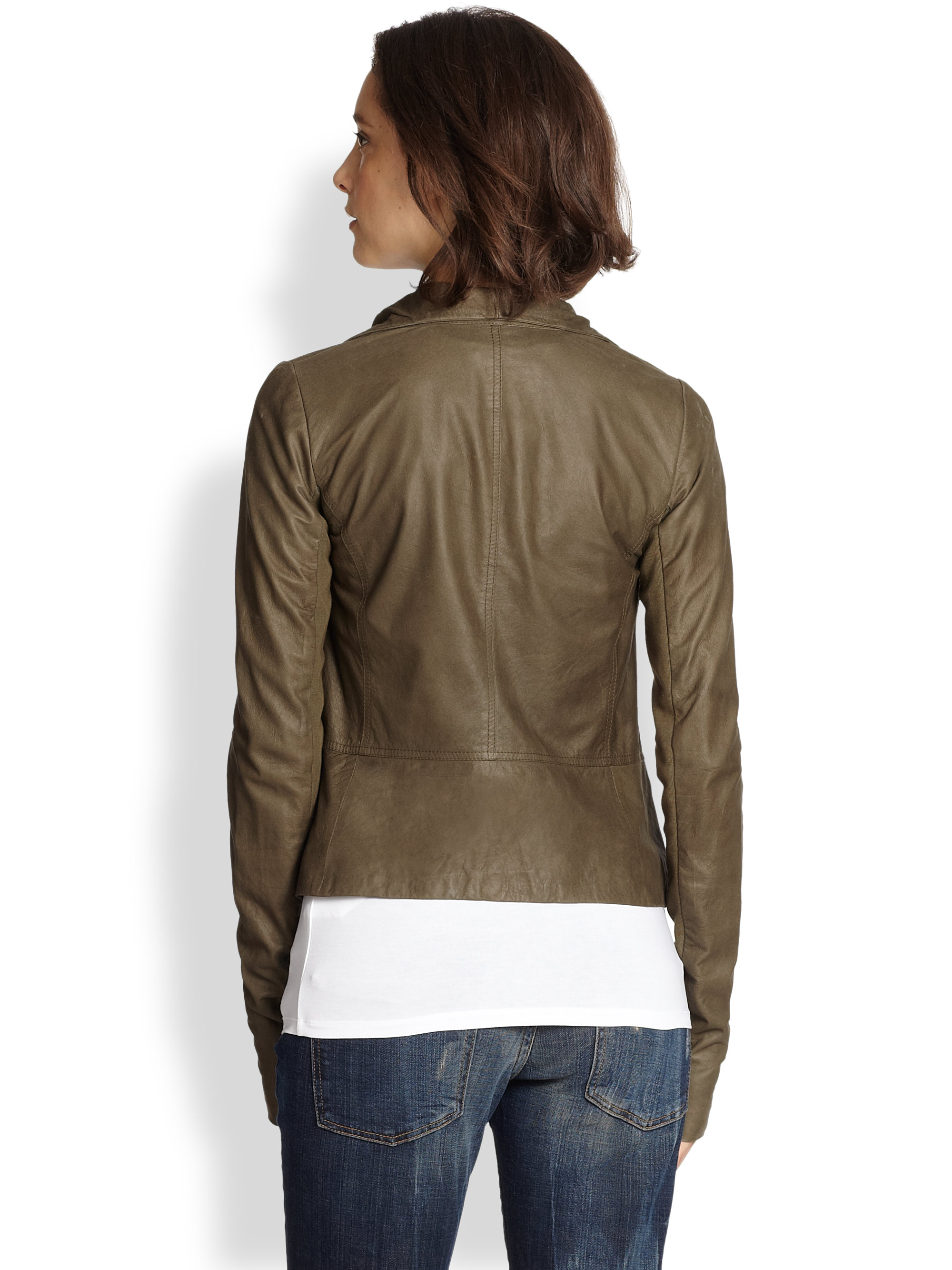 Lyst Vince Draped Leather Jacket In Green