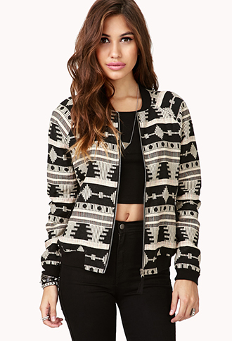 Forever 21 Tribal Pattern Bomber Jacket in Natural | Lyst
