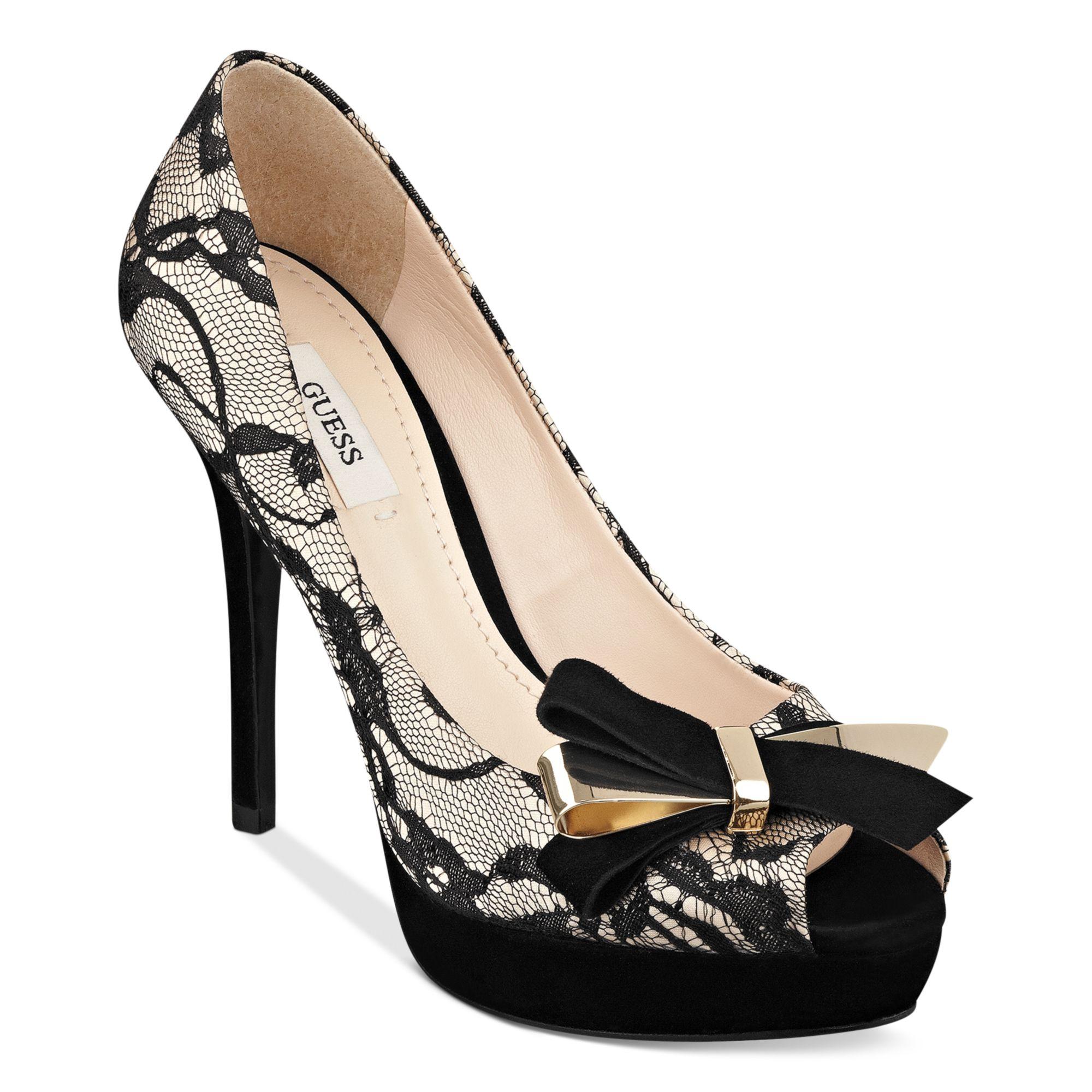 guess shoes tulle platform pumps in beige black lace lyst