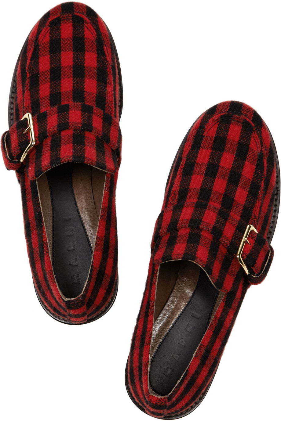 Lyst Marni Plaid Flannelcovered Leather Loafers In Red