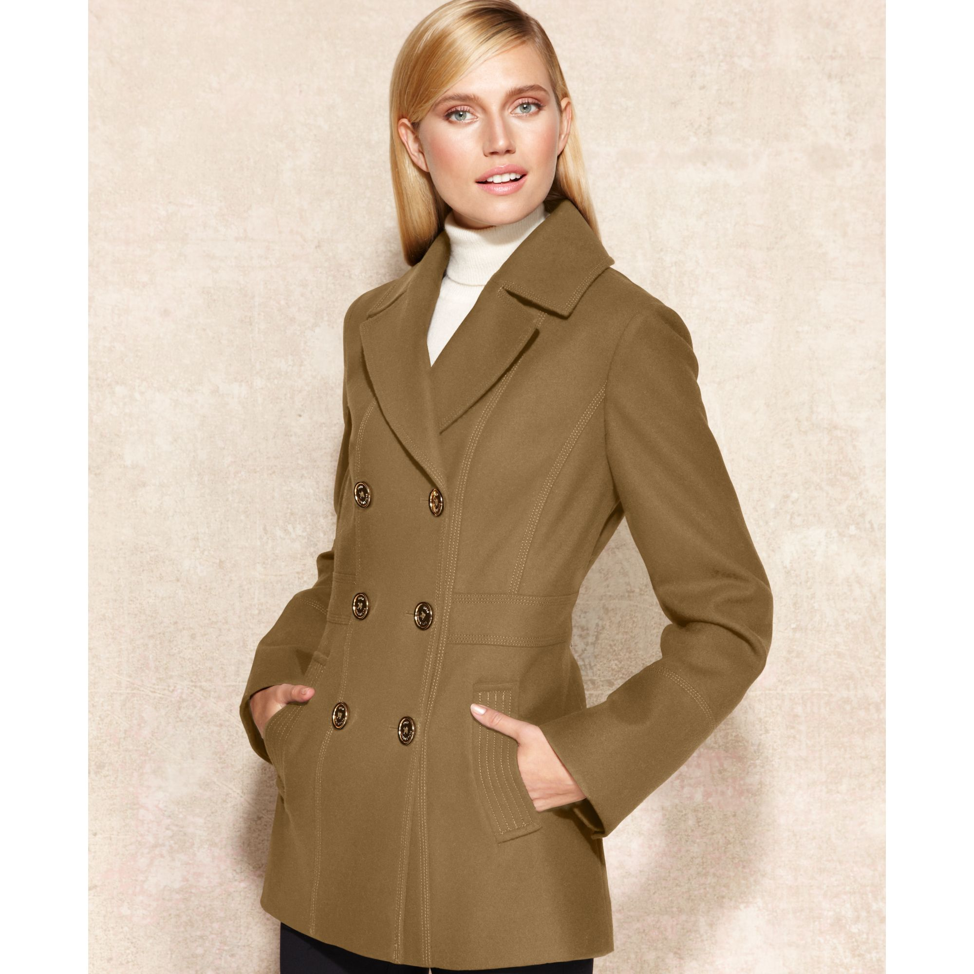 Michael kors Double-breasted Wool-blend Pea Coat in Natural | Lyst