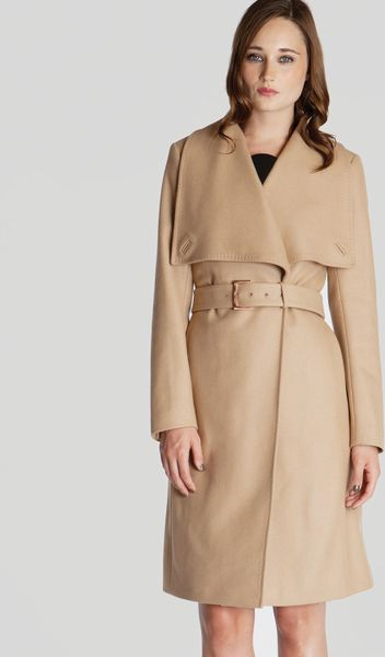 Ted Baker Coat Madigan Draped Front In Beige Camel Lyst