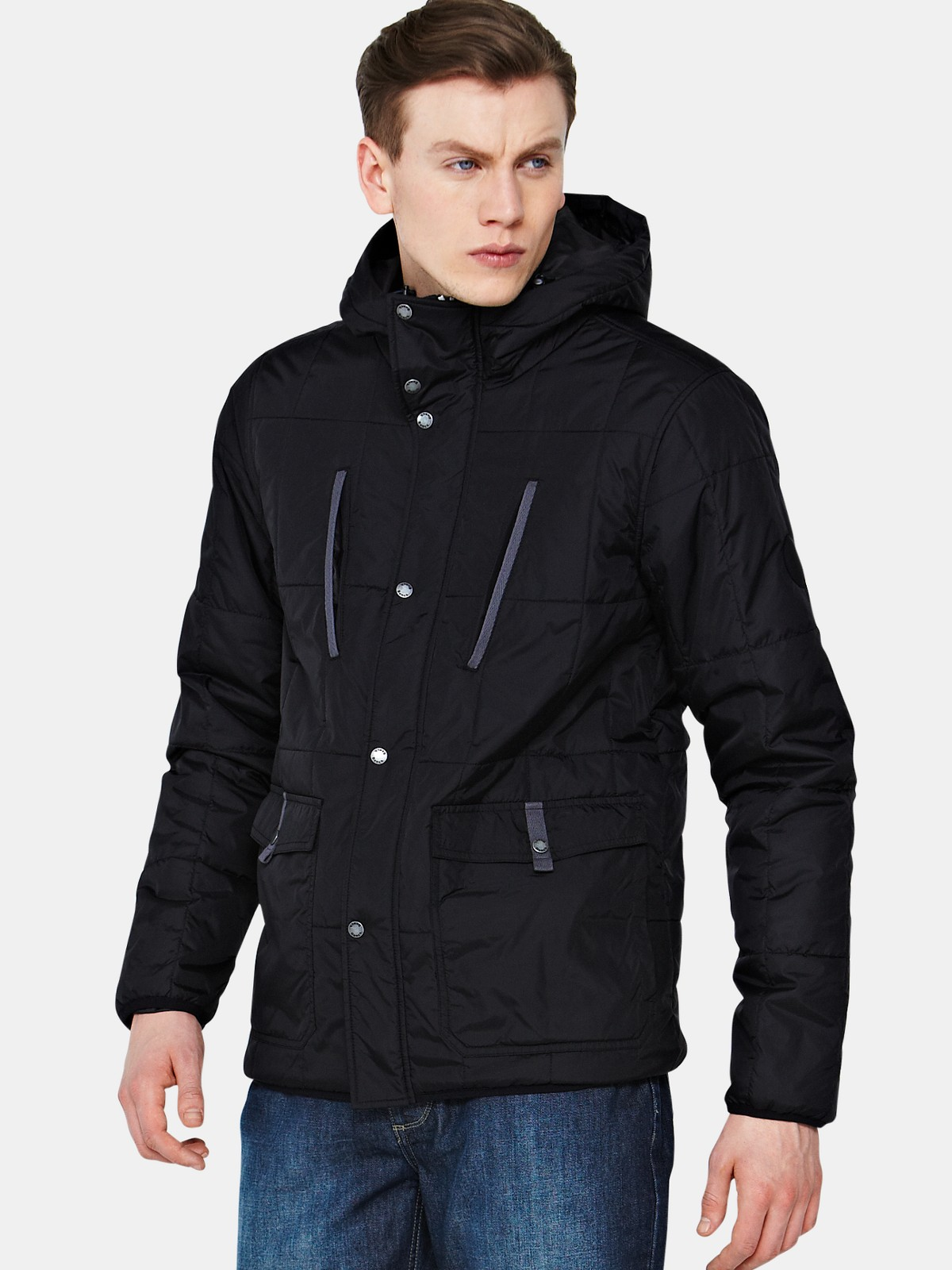 Bench bench mens quilted hooded jacket in black for men lyst Bench jacket