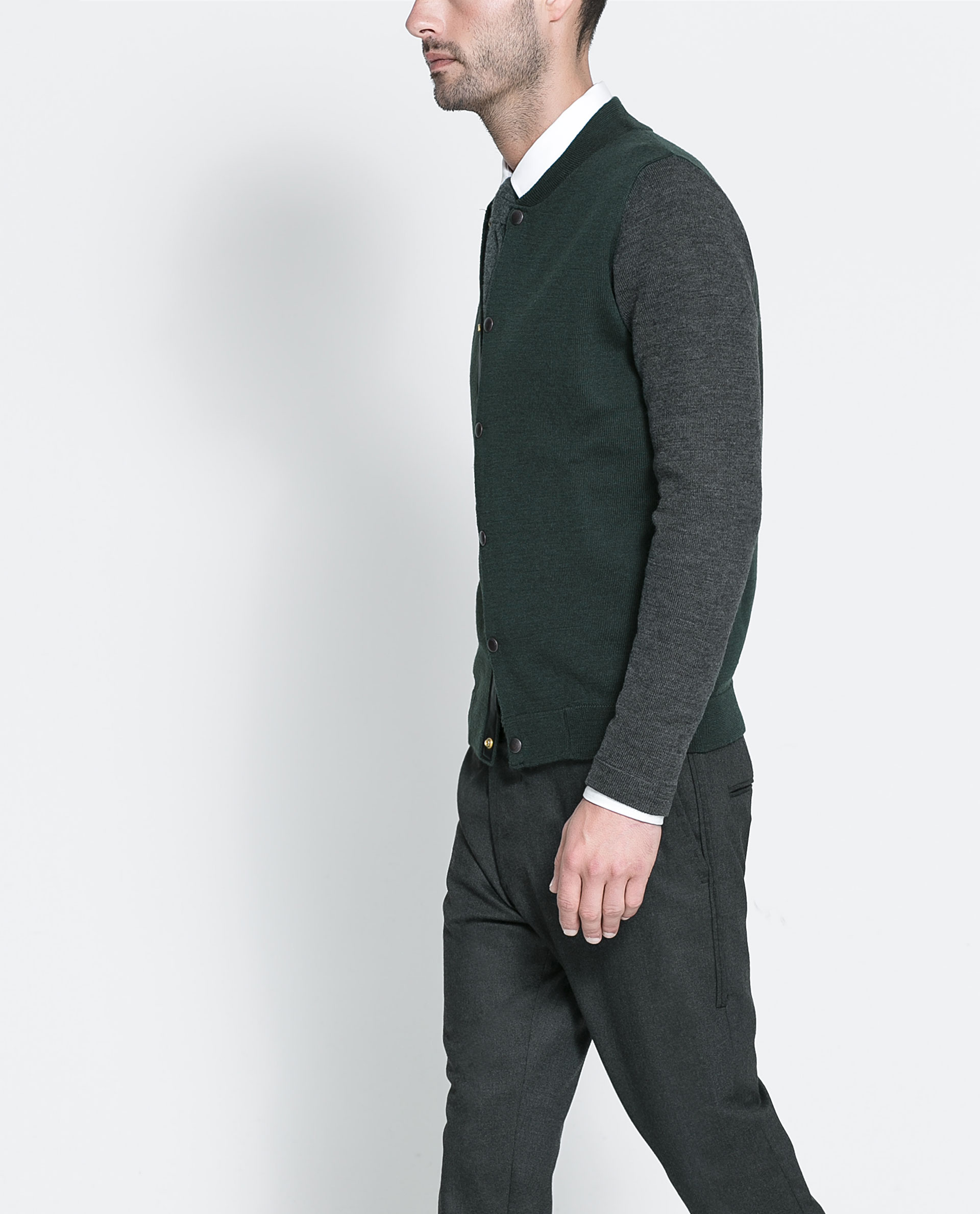 Zara Combination Bomber Jacket in Green for Men | Lyst