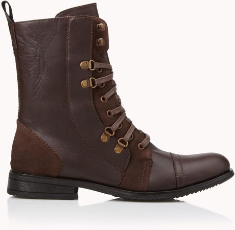 21men faux suedetrimmed combat boots in brown for lyst