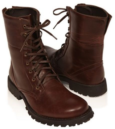 21men leatherette combat boots in brown for lyst