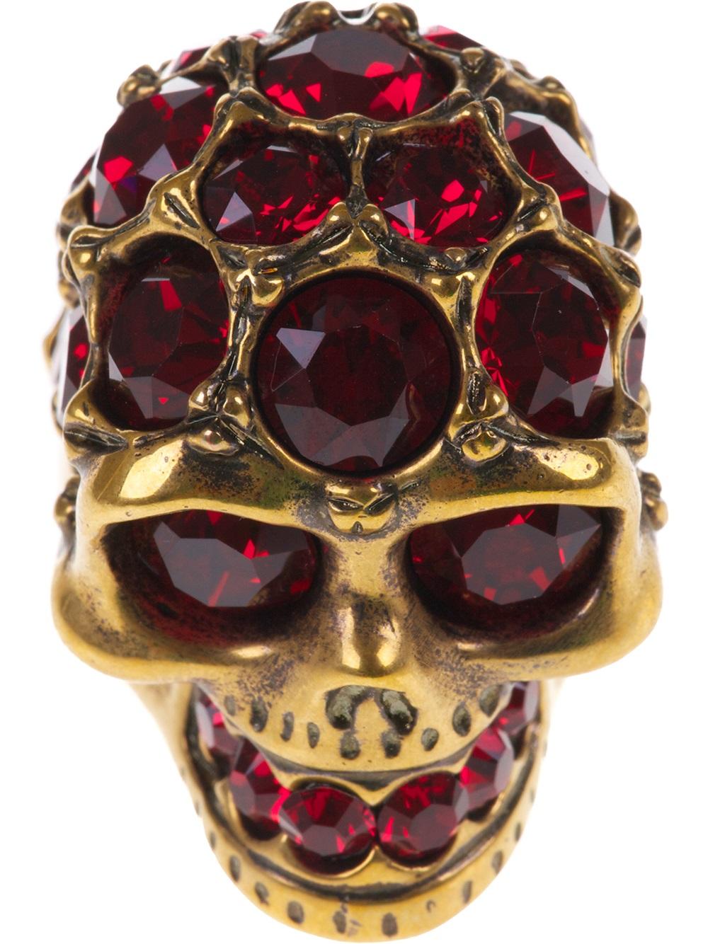 Lyst Alexander Mcqueen Ruby Embellished Skull Ring In Purple