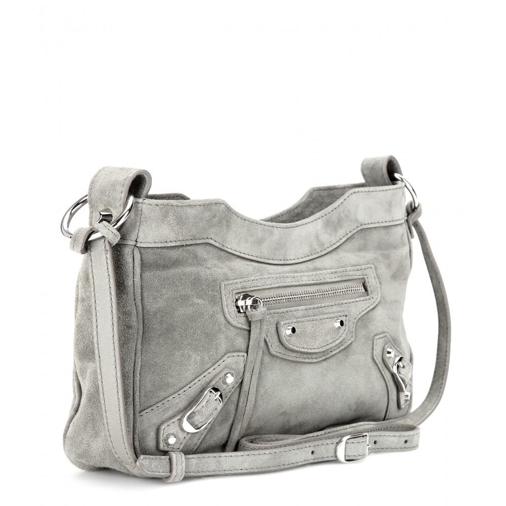 c83d0f6091 Lyst - Balenciaga Classic Hip Suede Shoulder Bag in Gray
