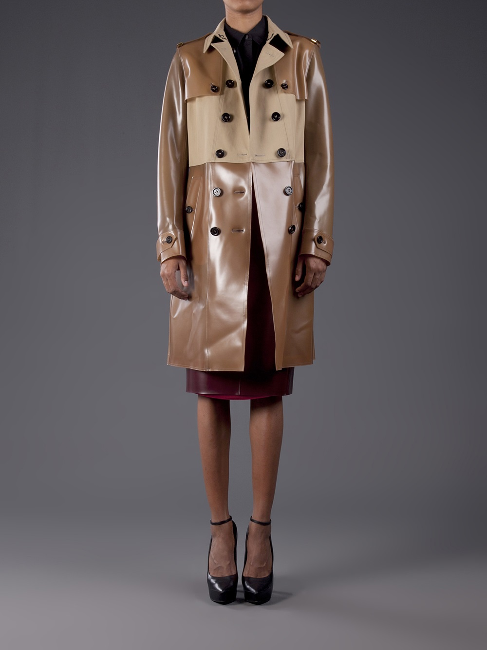 Lyst Burberry Prorsum Honey Rubber Trench Coat In Brown