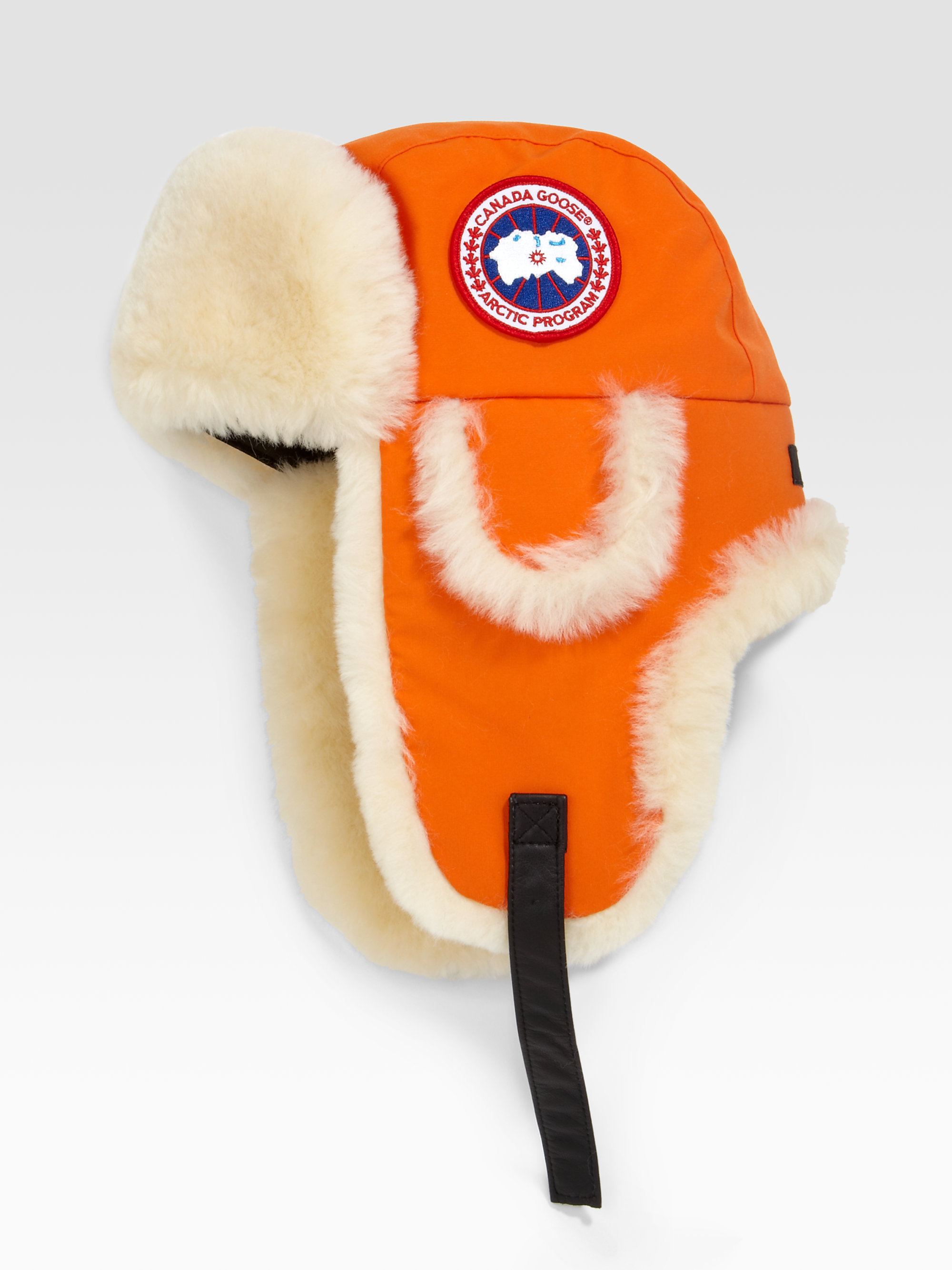 Canada Goose kids online store - Canada goose Arctic Tech Shearling Pilot Hat in Orange for Men ...
