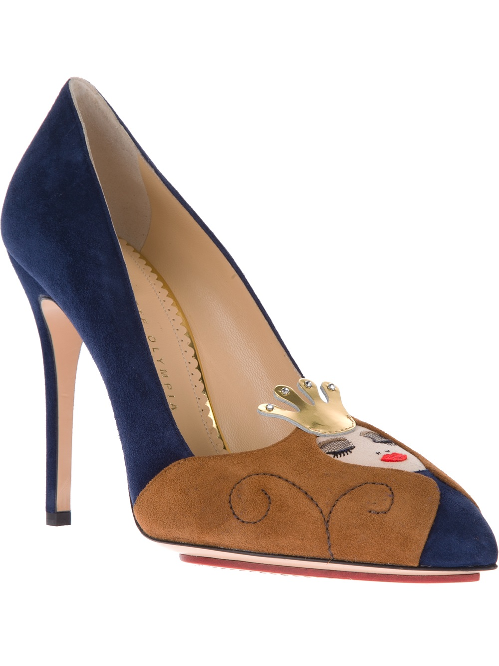 charlotte olympia sleeping beauty pump in brown blue lyst. Black Bedroom Furniture Sets. Home Design Ideas