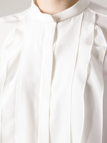 White Pleated Blouse 44