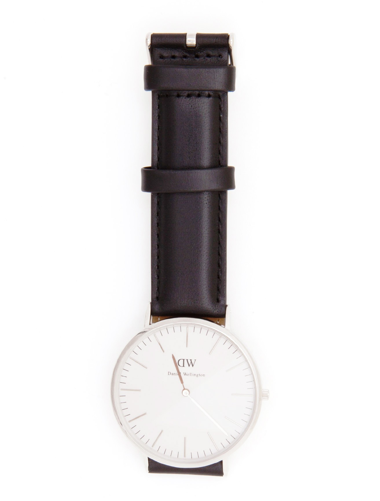 daniel wellington silver faced watch with black leather. Black Bedroom Furniture Sets. Home Design Ideas
