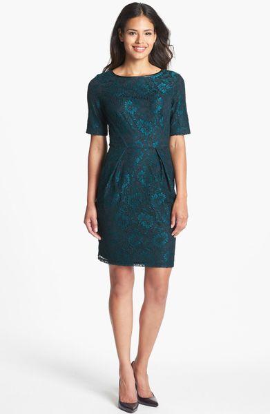 Donna Ricco Lace Sheath Dress In Blue Teal Black Lyst