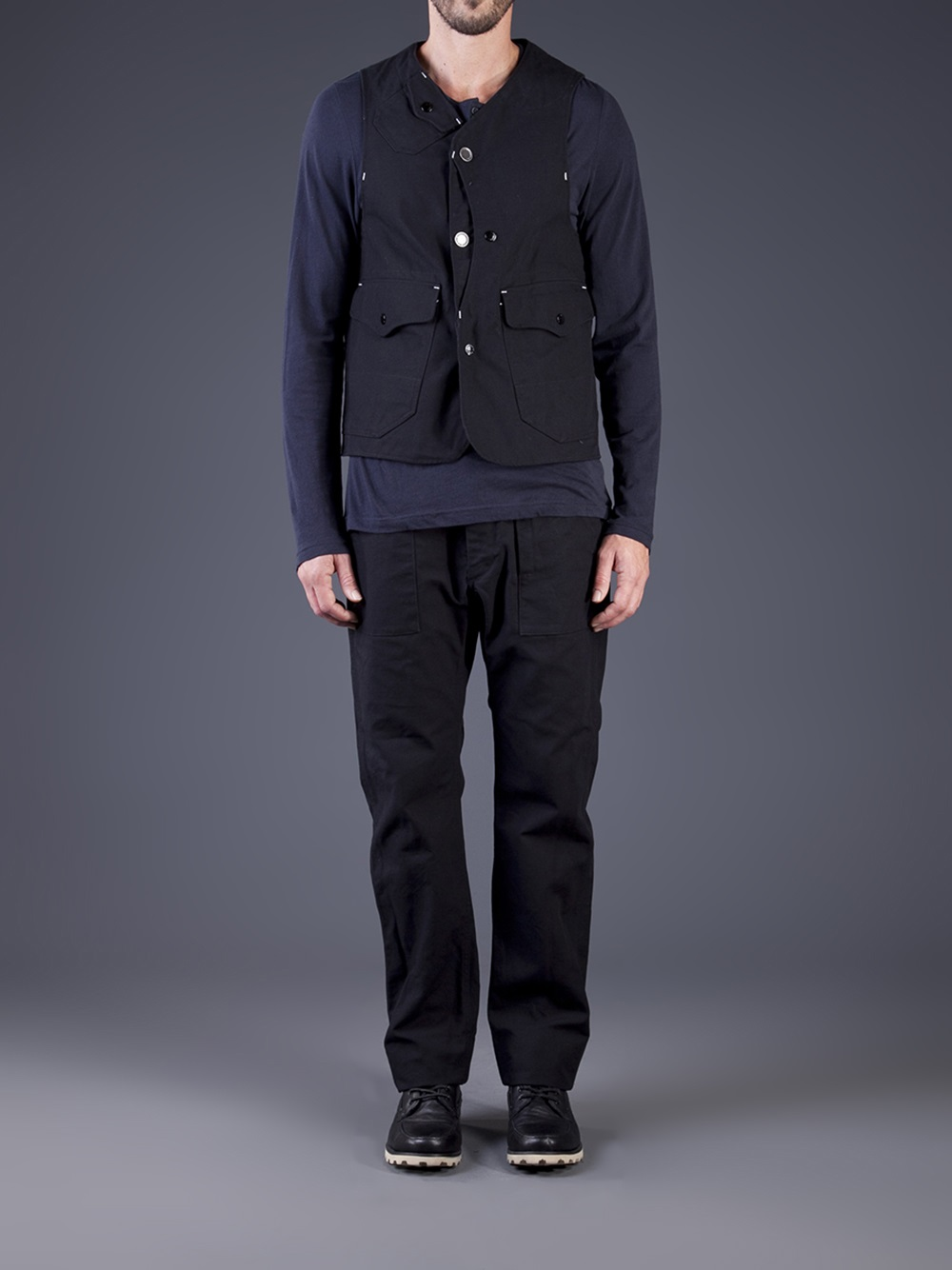 Engineered Garments Upland Vest In Black For Men Lyst