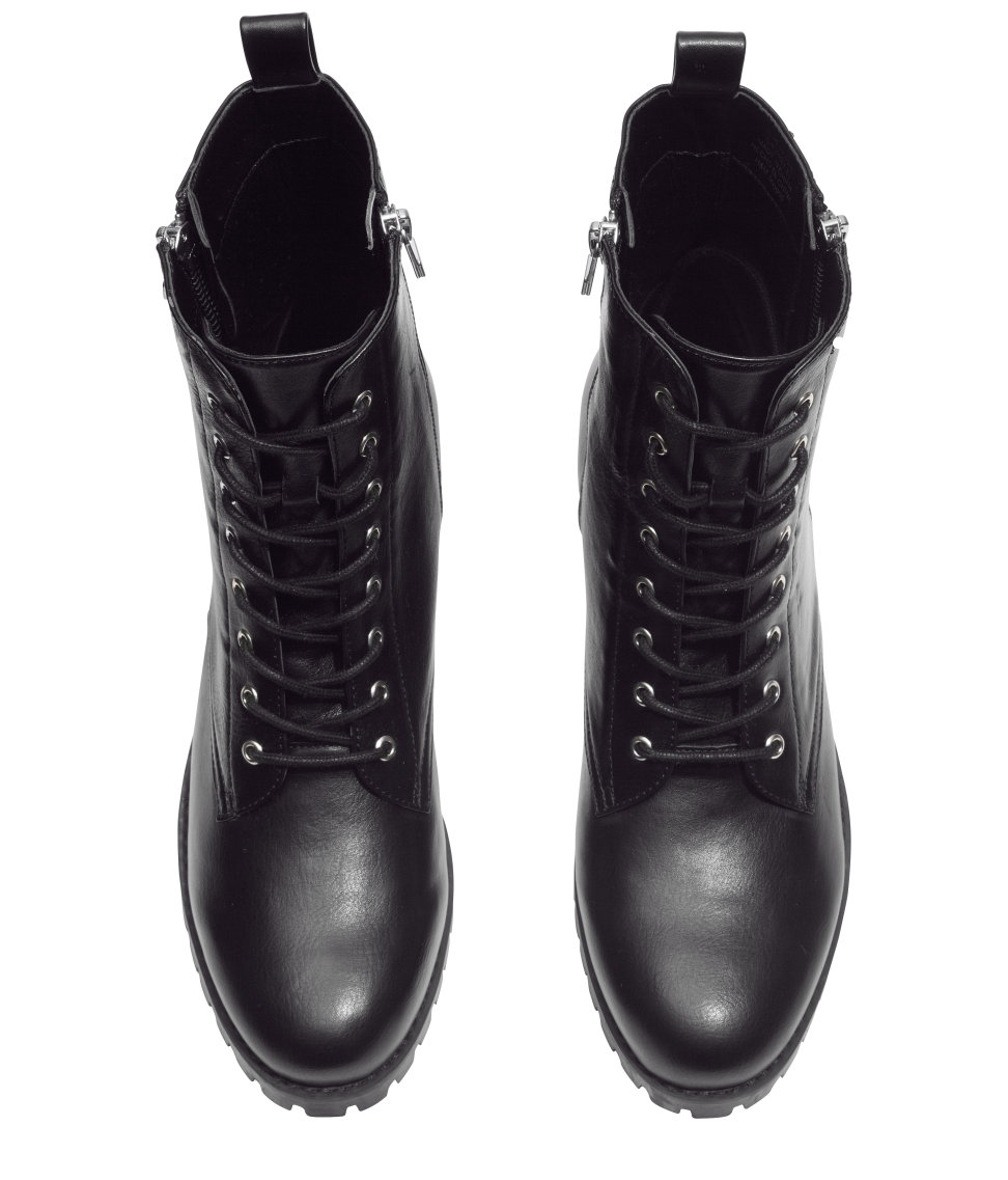 H&M Leather Ankle Boots in Black