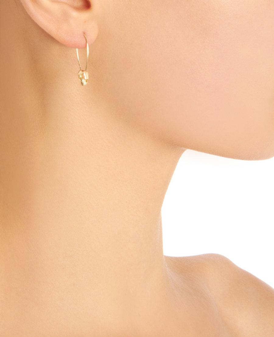305260776125e Loren Stewart Metallic Gold Skull Safety Pin Earrings