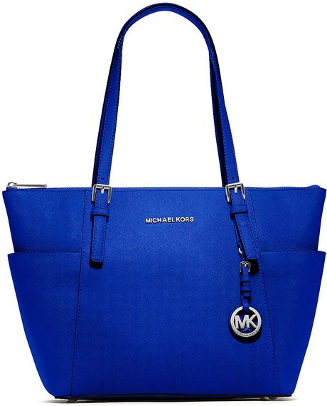 Michael Michael Kors Jet Set Leather Eastwest Tote Bag in Blue ...