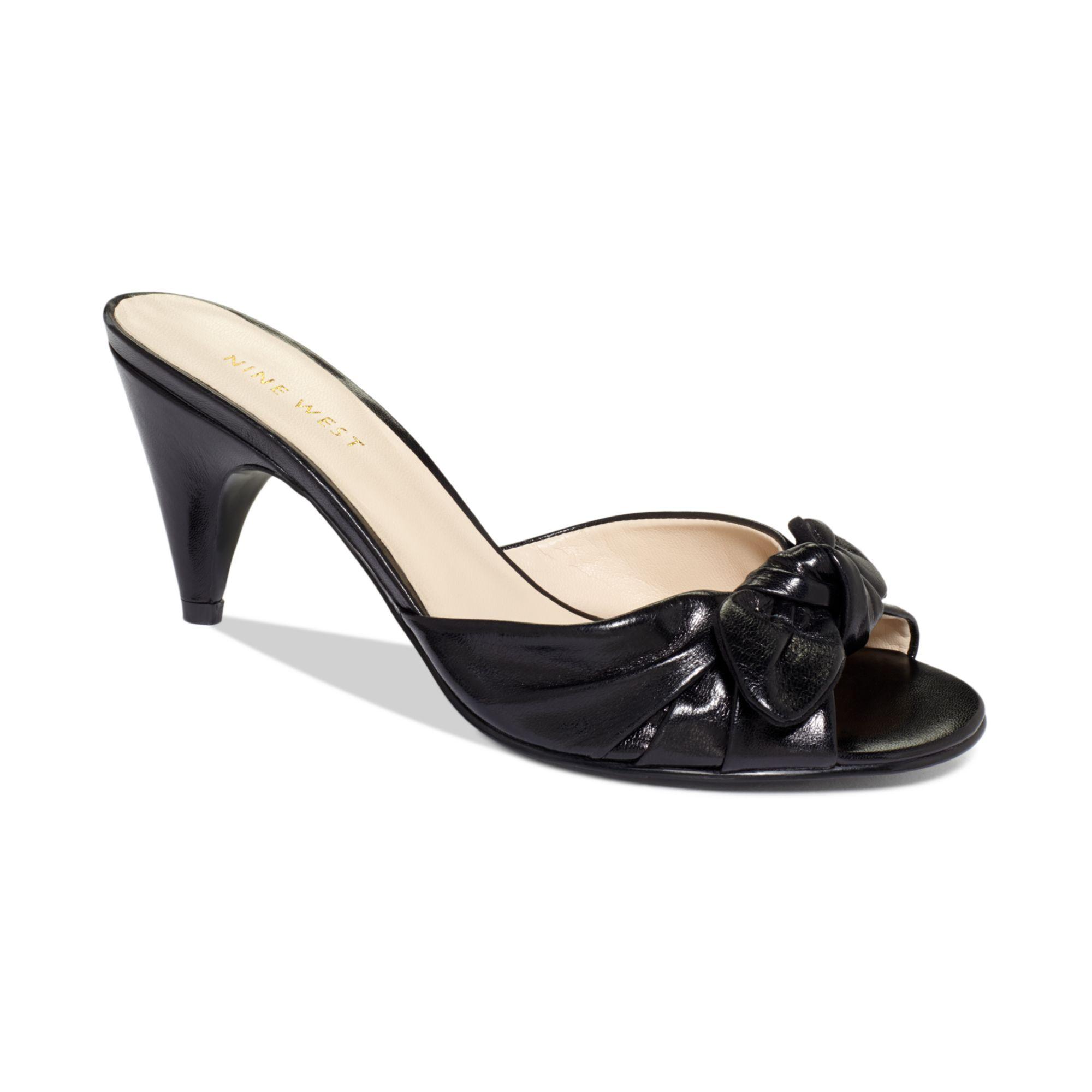 Nine West Anesa Mid Heel Mules in Black