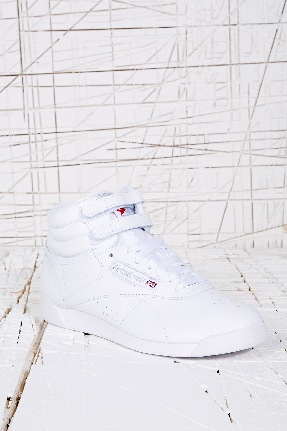 Reebok Freestyle Vintage Hitop Trainers in White in White - Lyst 08defe0c3