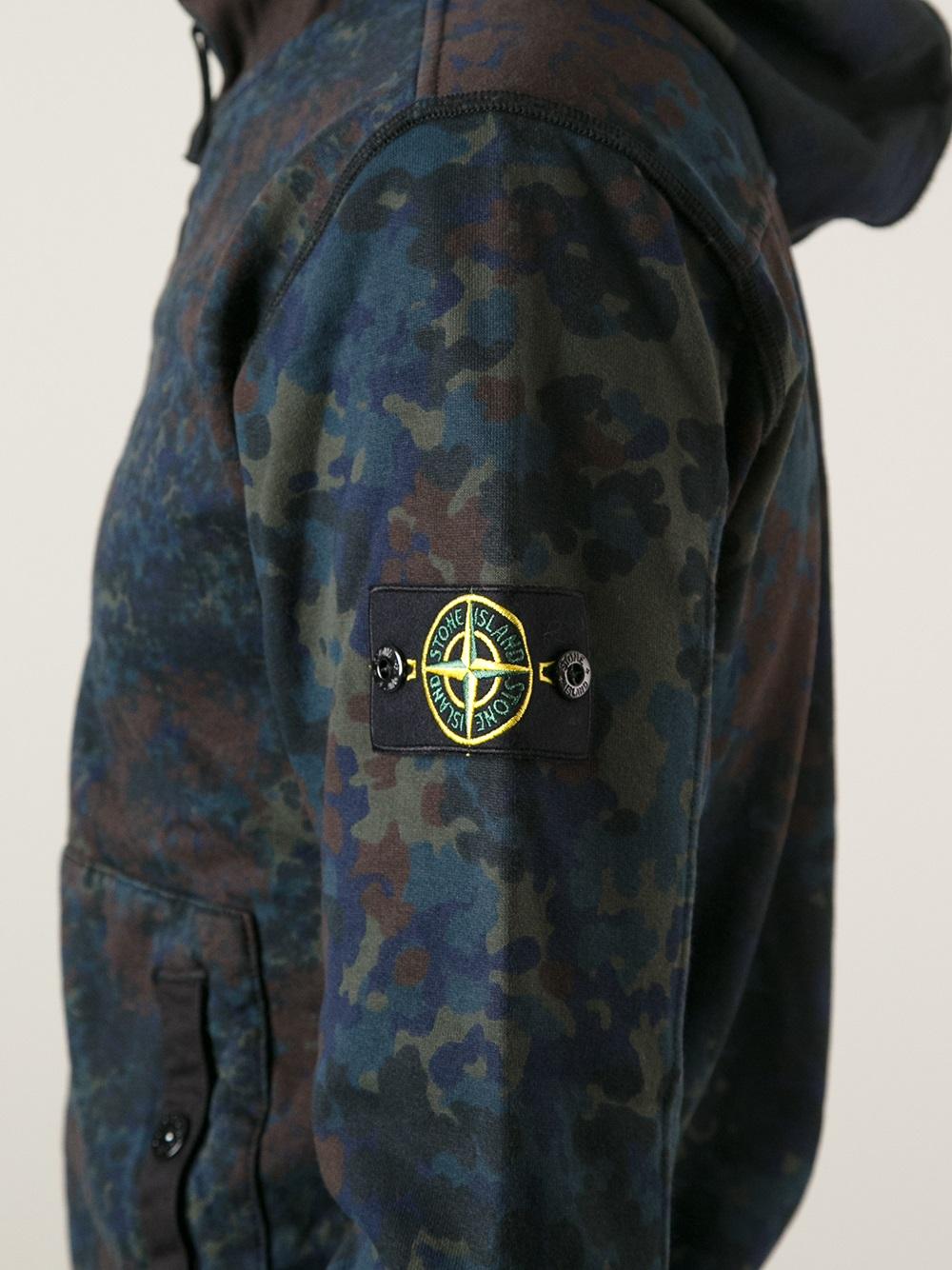 Lyst Stone Island Camouflage Hooded Sweatshirt In Blue