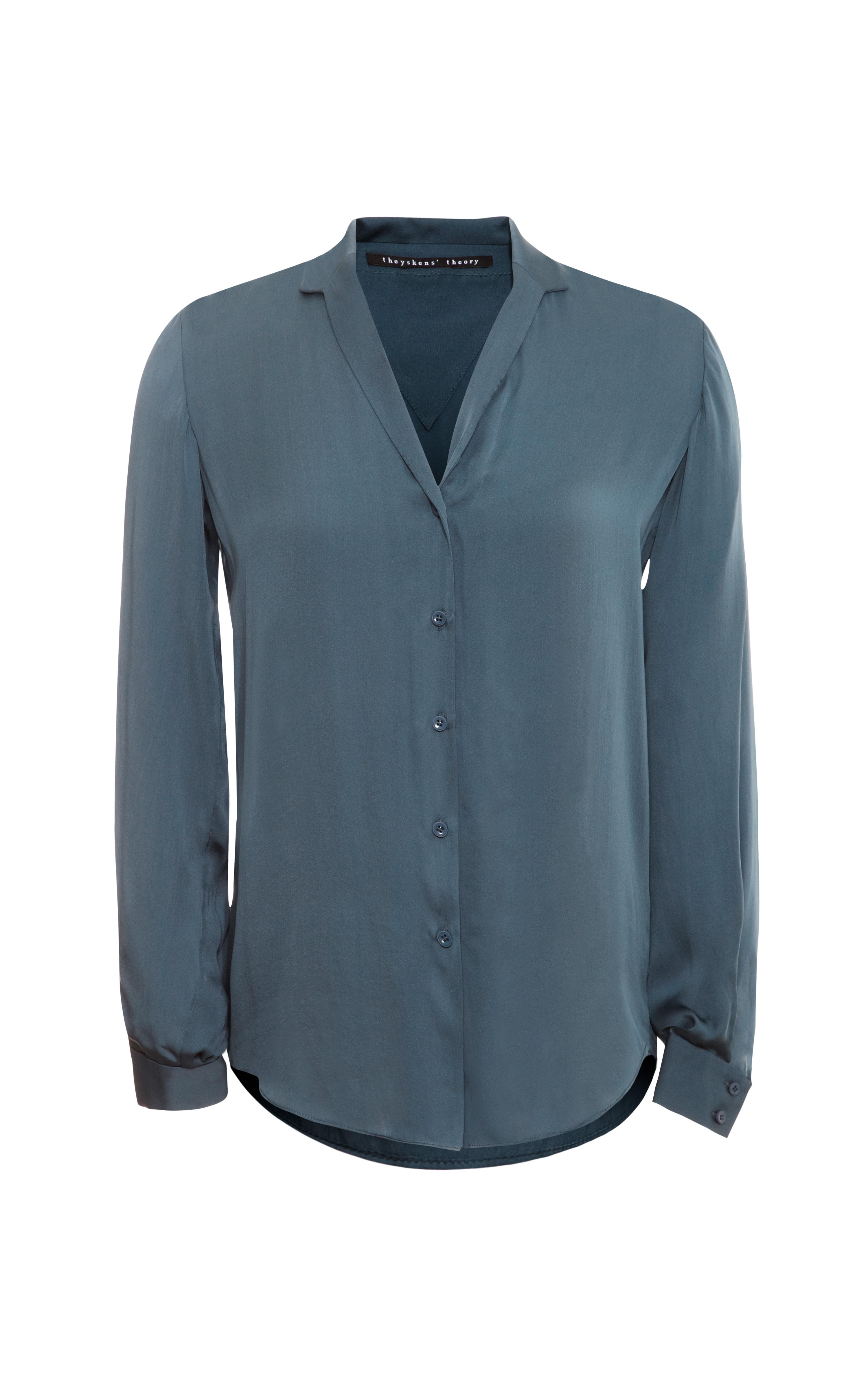 Theyskens 39 theory brana fayl silk button down blouse in for Silk button down shirt