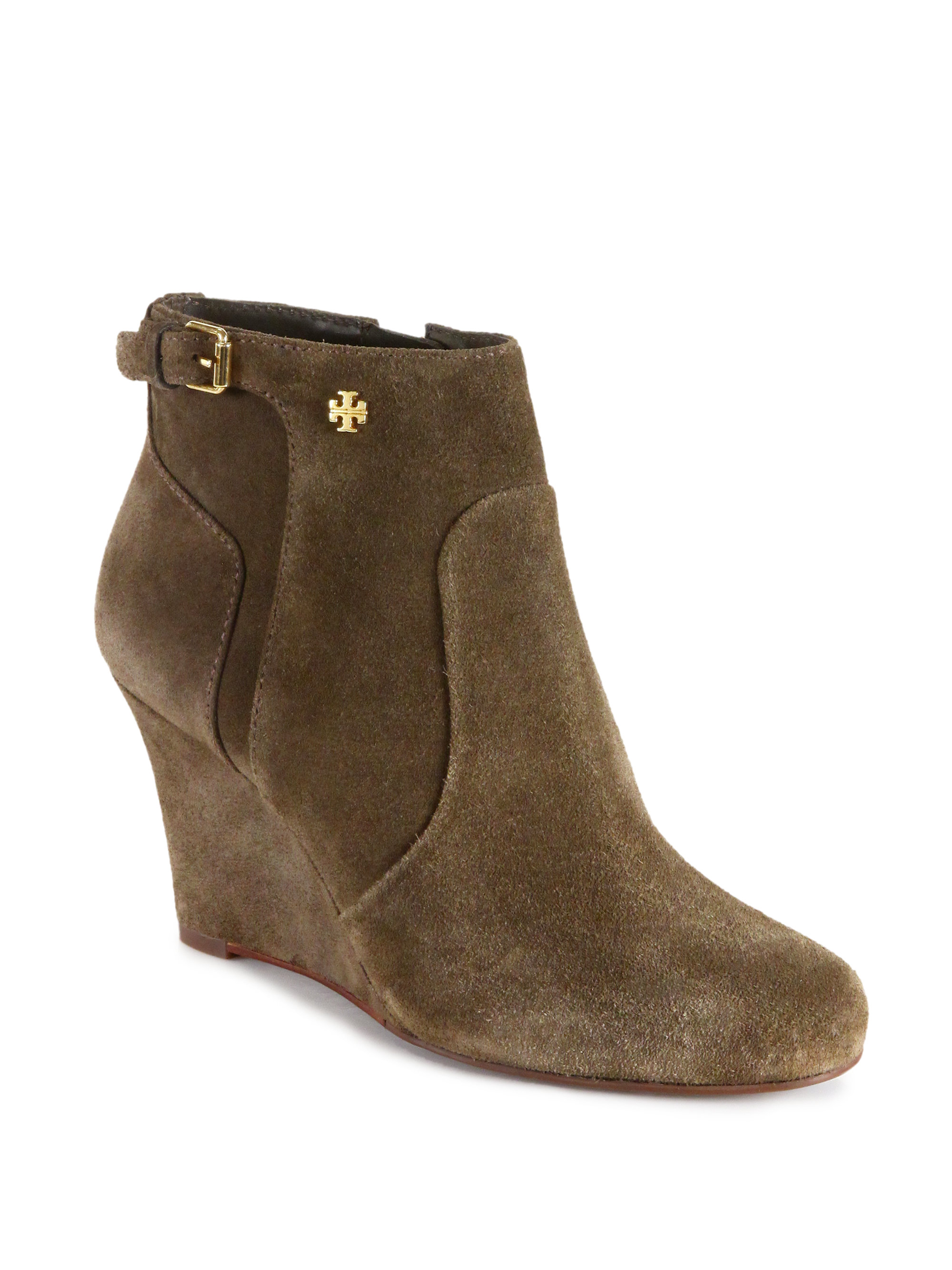 12d81f93fd3 Lyst - Tory Burch Milan Suede Wedge Ankle Boots in Natural
